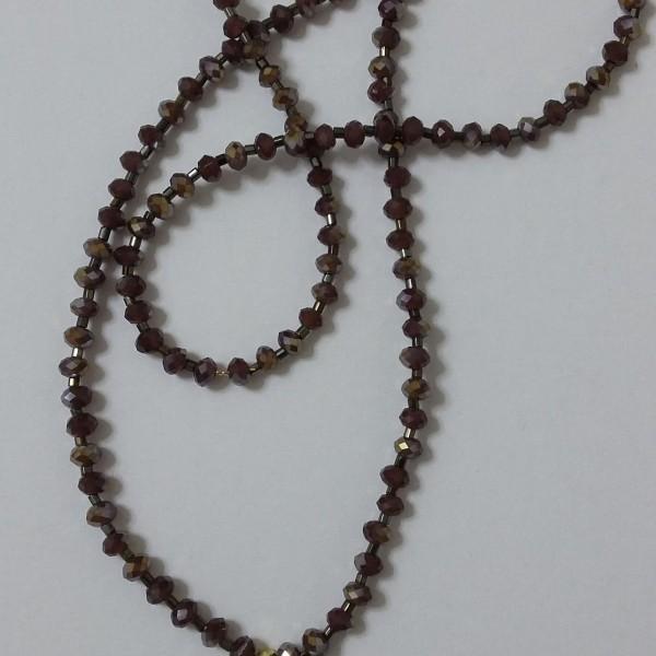 Κολιέ κρύσταλλο διάφανο Αυστρίας με λεπτομέρεια κύκνο σε κορδόνι από μπρονζέ κρύσταλλο - μήκος 43cm- ΚΜΠ001-25ευρώ