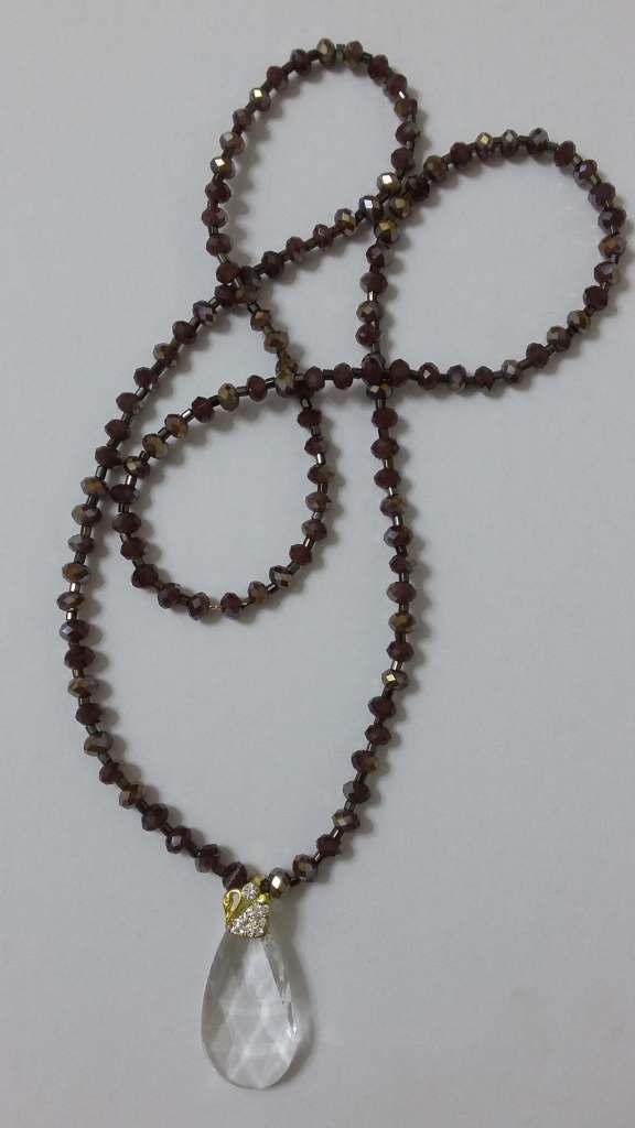 Κολιέ κρύσταλλο διάφανο Αυστρίας με λεπτομέρεια κύκνο σε κορδόνι από  μπρονζέ κρύσταλλο - μήκος 43cm- bbb18afa255