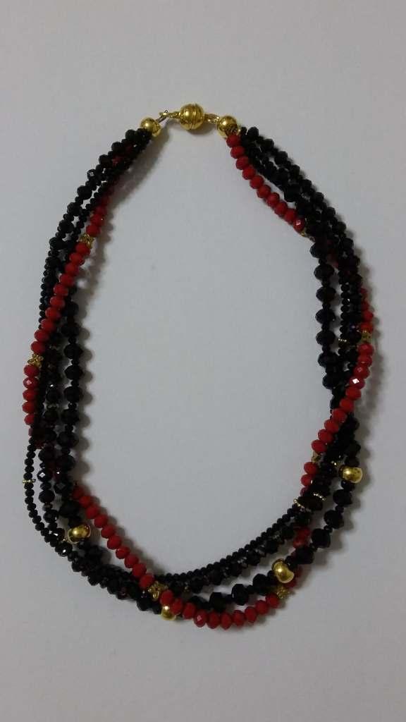ΚΜΠ008-Κολιέ με μαύρα και κόκκινα κρύσταλλα e9bf2ca1784