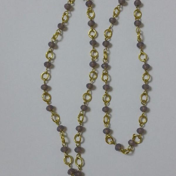 Κολιέ μωβ κρύσταλλο με χειροποίητο ροζάριο από ορείχαλκο και μικρά μωβ κρύσταλλα-45cm-ΚΜΠ007-25ευρώ