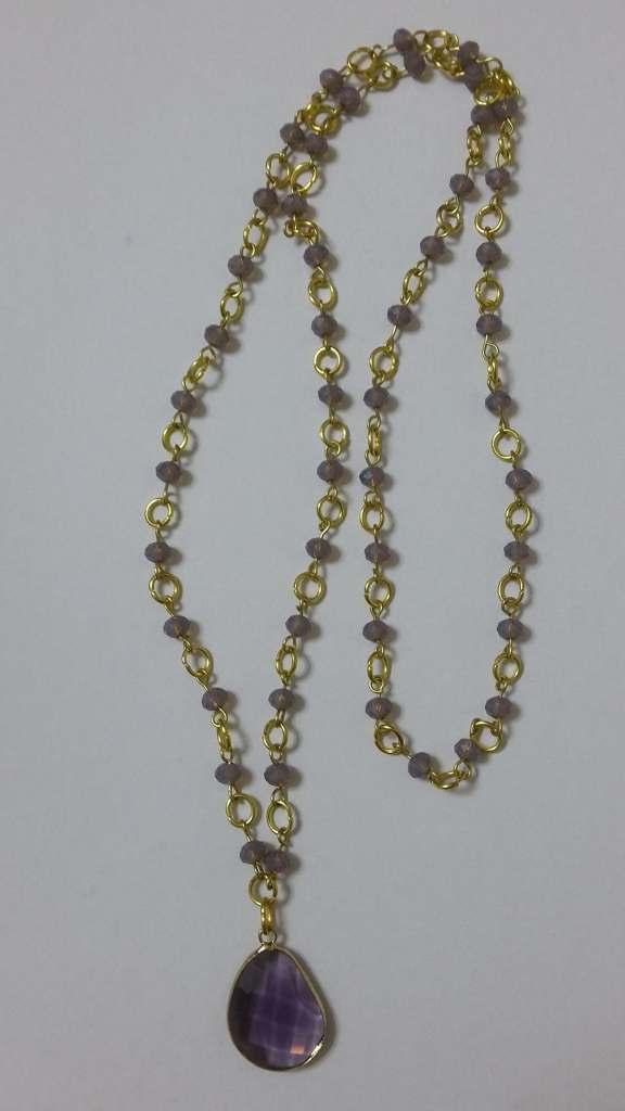 ΚΜΠ007-Κολιέ μωβ κρύσταλλο με χειροποίητο ροζάριο από ορείχαλκο και μικρά  μωβ κρύσταλλα-45cm 437c1fb388f