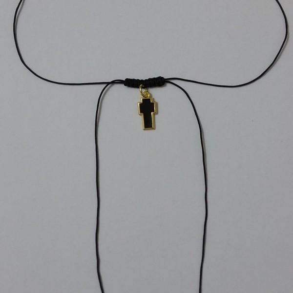 Κολιέ σταυρός με σμάλτο σε μαύρο κορδόνι-ΚΜΠ012-10ευρώ