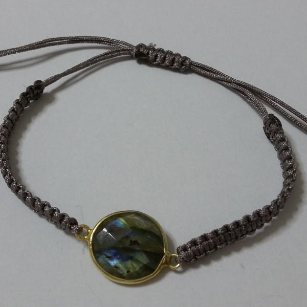 ΒΜΠ006-Βραχιόλι  με πέτρα λαμπραντορίτη, επίχρυσο δέσιμο και γκρι κορδόνι-15ευρώ