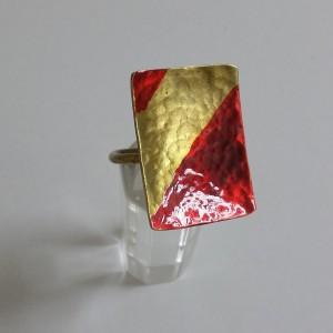 ΔΜΠ009-Δαχτυλίδι χειροποίητο από ορείχαλκο βαμμένο με σμάλτο-15ευρώ
