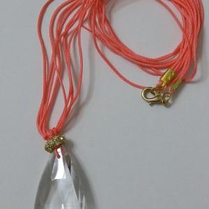 ΚΜΠ024-Κολιέ κρύσταλλο swarovski δεμένο με κοραλλί κορδόνια-18ευρώ