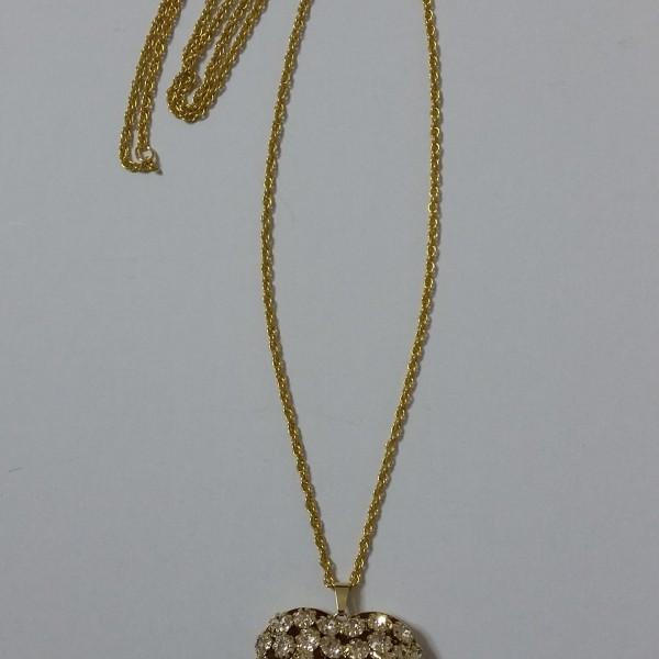 ΚΜΠ043-Κρεμαστή  καρδιά  χρυσή με σβαροφσκι κρύσταλλα και αλυσίδα μακριά 30 ευρώ