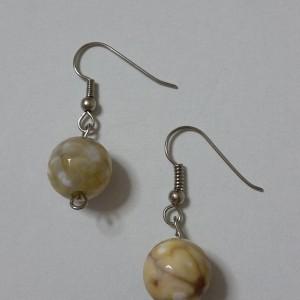 ΣΜΠ007-Σκουλαρίκια με στρογγυλή πέτρα αχάτη-8ευρώ