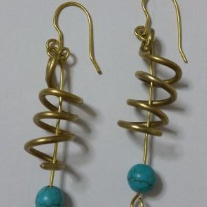 ΣΜΠ010-Σκουλαρίκια χειροποίητα από ορείχαλκο με πέτρα χαολίτη-9ευρώ