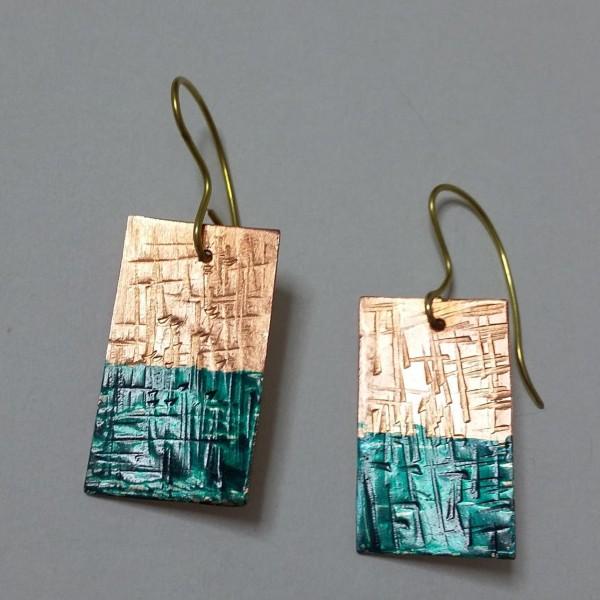 ΣΜΠ014-Σκουλαρίκια χειροποίητα από χαλκό, βαμένα με σμάλτο-10ευρώ