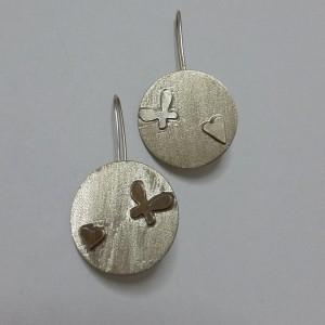 ΣΜΠ015-Σκουλαρίκια χειροποίητα από αρζαντό σαγρέ-12ευρώ