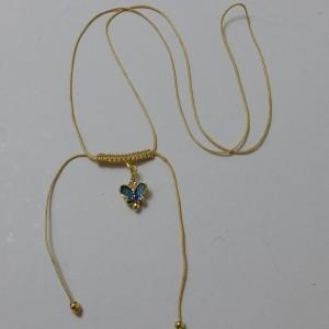 ΚΜΠ050-Κολιέ πεταλούδα σμαλτο σε χρυσό κορδόνι-10ευρώ