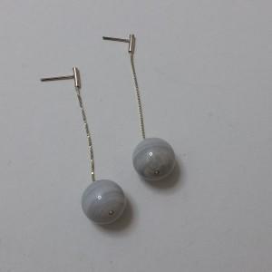 ΣΜΠ027-Σκουλαρίκια με πέτρες αχάτη και ασημένια αλυσίδα-18ευρώ