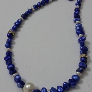ΚΜΠ092-Κολιέ κοντό με μαργαριτάρια μπλε ρουά και άσπρα-20ευρώ