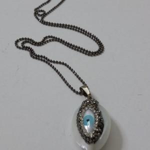 ΚΜΠ117 - Κολιέ πέτρα κοχύλι με μάτι και μαρκασίτη-30 ευρώ