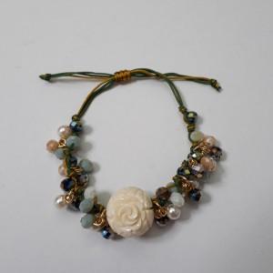 ΒΜΠ079-Βραχιόλι με κοράλι,κρυσταλλα και πέρλες και κούμπωμα αυξομείωσης-10ευρώ