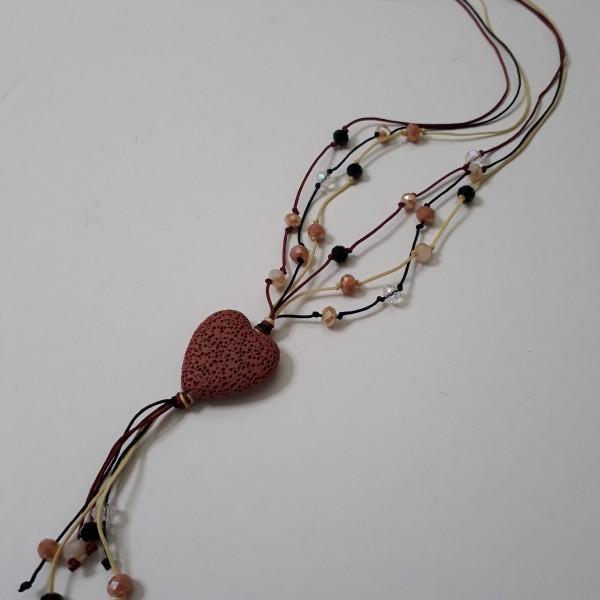 ΚΜΠ136-Κολιέ μακρύ με κορδόνια και κρύσταλλα και κεντρικό στοιχείο καρδιά από λάβα-20ευρώ