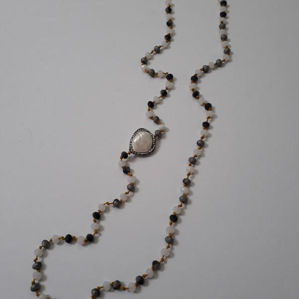 ΚΜΠ144-Κολιέ μακρύ με κορδόνι και κρύσταλλα και στοιχείο επιμαργαριτωμένο με μαρκασίτη-30ευρώ