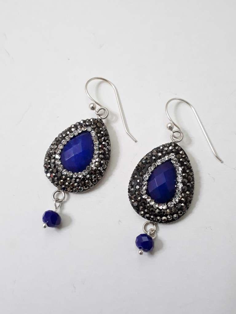 ΣΜΠ040 – Σκουλαρίκια με ημιπ.πέτρα μπλε δάκρυ και μαρκασίτη  d4b70329ee3