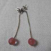 ΣΜΠ061-Σκουλαρίκια χειροποίητα με ασημένια αλυσίδα και πέτρα ροζ κουάρτζ  καρφωτά ... bc1c4ee3362