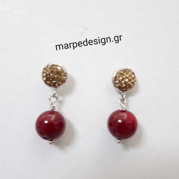 ΣΜΠ068-Σκουλαρίκια καρφί με χρυσό μαρκασίτη και στρογγυλό κοράλλι ... 678be8833e3