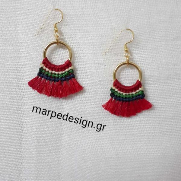 ΣΜΠ081-Σκουλαρίκια μακραμέ φουντίτσες κόκκινα  9c41453b774