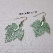 ΣΜΠ091-Σκουλαρίκια ασημένια φύλλα πράσινο ανοιχτό από μέταλλο ... acc3c1a7596