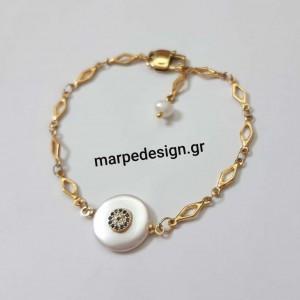 ΒΜΠ278-Βραχιόλι ατσάλινη αλυσίδα επιχρυσωμένη και μαργαριτάρι πλακέ με ζιργκόν μάτι 14 ευρώ