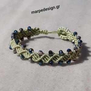 ΒΜΠ327-Βραχιόλι χειροποίητο μακραμέ σχέδιο διπλό DNA σε πράσινο ανοικτό ΝΟ 0.8 με κρυσταλλάκια 13 ευρώ