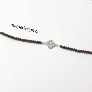 ΒΜΠ404-Βραχιόλι κρυσταλλάκια γκρι ματ ιριζέ και στοιχείο σταυρό με ζιργκόν ρόδιο 14 ευρώ