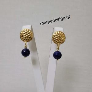ΣΜΠΓ228-Σκουλαρίκια ατσάλινα σφυρίλατα στρόγγυλα και πέτρα μπλε λάπη 10 ευρώ